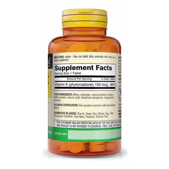 Mason Natural K 100 mcg -100 Tablets