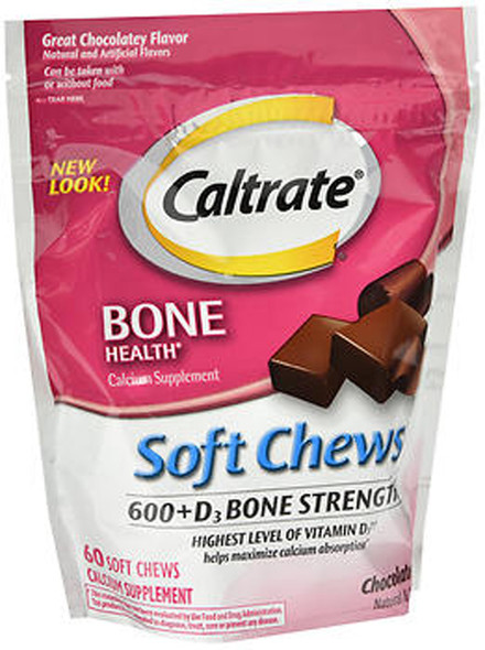 Caltrate Chocolate Truffle 600+D Calcium Supplement Soft Chews - 60 ct