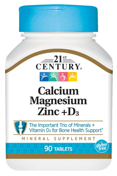An image of a bottle of Calcium, Magnesium, Zinc, and Vitamin D3 tablets from 21st Century, available at The Online Drugstore.