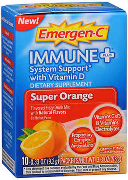 Emergen-C Immune+ System Support Dietary Support Fizzy Drink Mix Powder Packets Super Orange - 10 ct