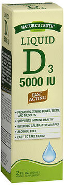 Nature's Truth D3 5000 IU Fast Acting Vitamin Supplement Liquid - 2 oz