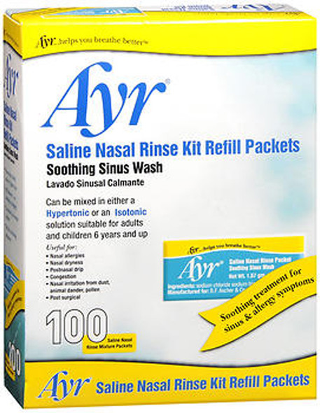 Ayr Saline Nasal Rinse Kit Refill Packets - 100 ct