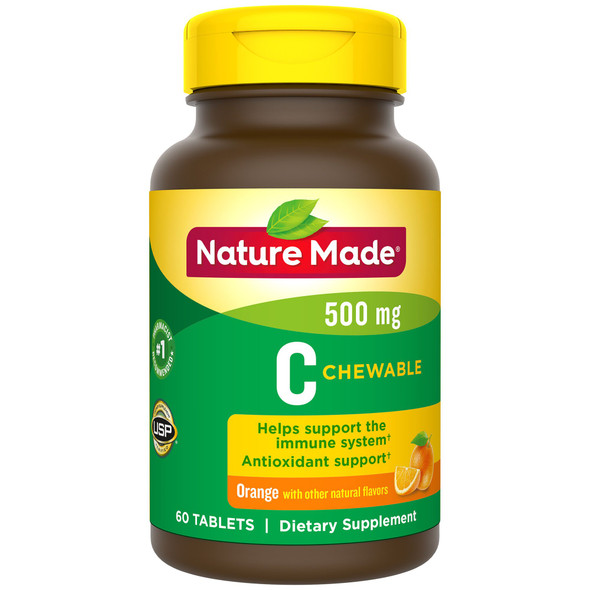 Nature Made Vitamin C 500 mg Chewable Tablets Orange Flavor - 60 ct