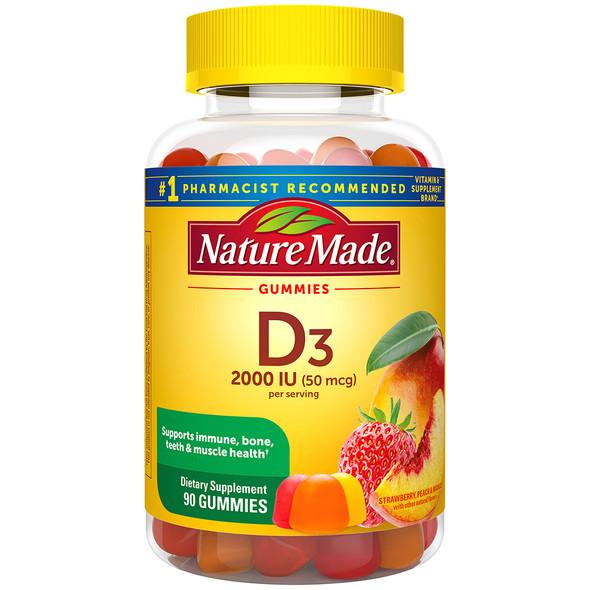 Nature Made Vitamin D3 Dietary Supplement Gummies - 90 Assorted Flavors