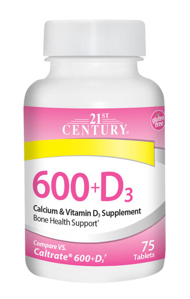 An image of a bottle of 600 plus D3 vitamins from 21st Century, available at The Online Drugstore.
