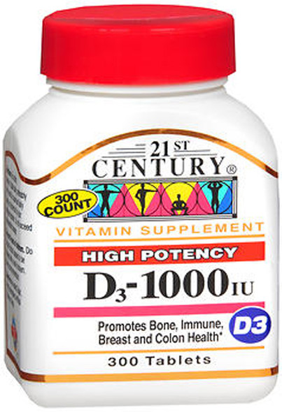 An image of a bottle of high-potency Vitamin D tablets from 21st Century, available at The Online Drugstore.