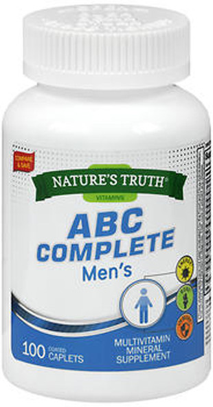 Nature's Truth ABC Complete Men's Multivitamin Mineral Supplement -100 Coated Caplets