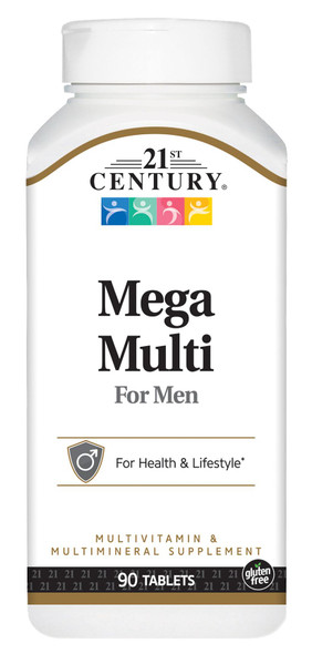 An image of a bottle of mega-multi vitamins for men from 21st Century, available at The Online Drugstore.