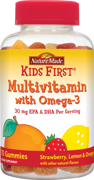 Nature Made Kids 1st Multivitamin w/ Omega-3 Dietary Supplement Gummies - Strawberry Lemon & Orange - 70ct