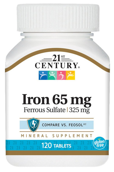 21st Century Iron 65 mg with  Ferrous Sulfate 325 mg - 120 Tablets