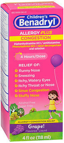 Benadryl Children's Allergy plus Congestion Liquid Grape Flavored - 4 oz