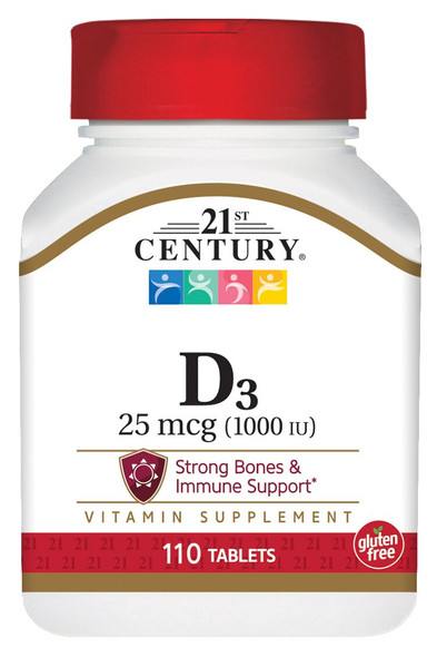 An image of a bottle of Vitamin D3 supplements from 21st Century, available at The Online Drugstore.