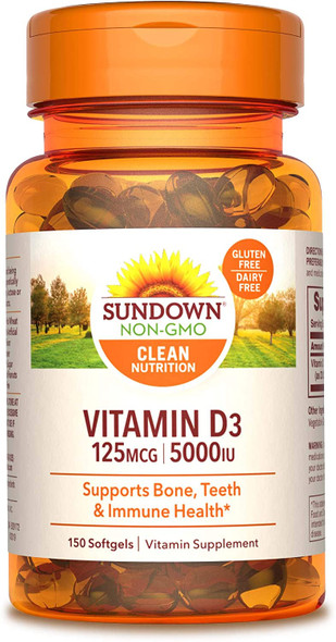 Sundown Naturals Vitamin D3 5000 IU Softgels Maximum Potency - 150 ct