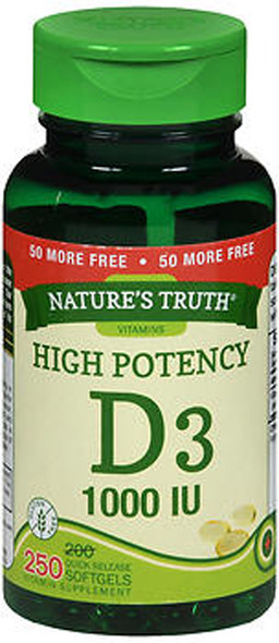 Nature's Truth D3 1000 IU Vitamin Supplement - 250 Softgels