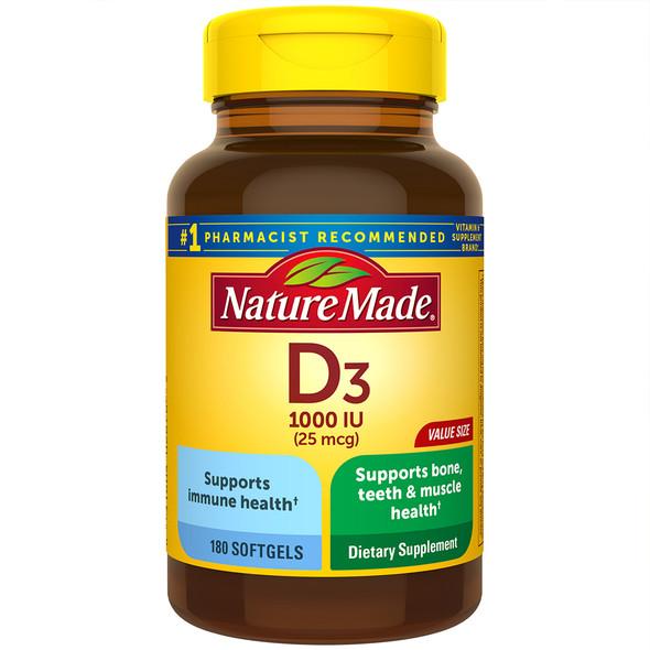 Nature Made Vitamin D3 1000 IU - 180 Liquid Softgels