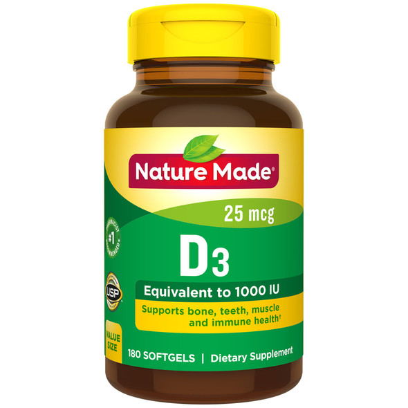 Nature Made Vitamin D3 1000 IU - 180 Liquid Softgels