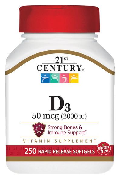 21st Century D3-2000 IU Softgels  250 ct