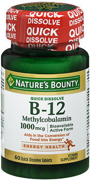 Nature's Bounty B-12 Methylcobalamin 1000 mcg Quick Dissolve Natural Cherry Flavor - 60 Tablets