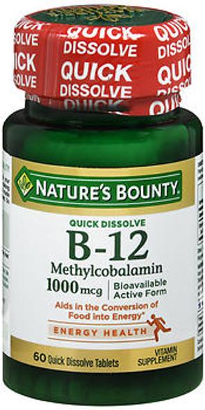 Nature's Bounty B-12 Methylcobalamin 1000 mcg Quick Dissolve Natural Cherry Flavor - 60 Tablets
