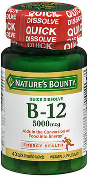 Nature's Bounty B-12 5000 mcg Supplement Quick Dissolve Natural Cherry Flavor - 40 Tablets