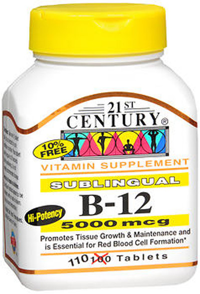 21st Century B-12 5000 mcg Tablets Sublingual - 110 ct