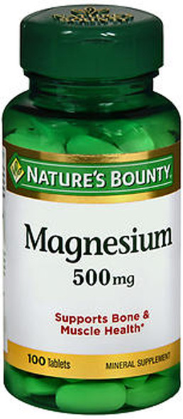 Nature's Bounty Magnesium 500 mg Maximum Strength - 100 Tablets