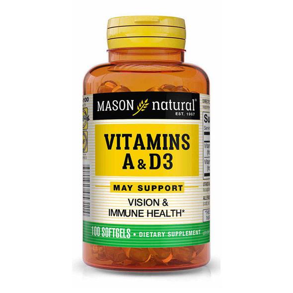 Mason Natural Vitamins A & D3 - 100 Softgels