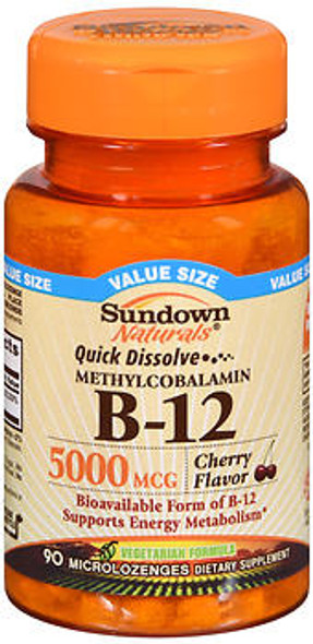 Sundown Naturals Quick Dissolve Methylcobalamin B-12 Microlozenges Cherry Flavor - 90 ct