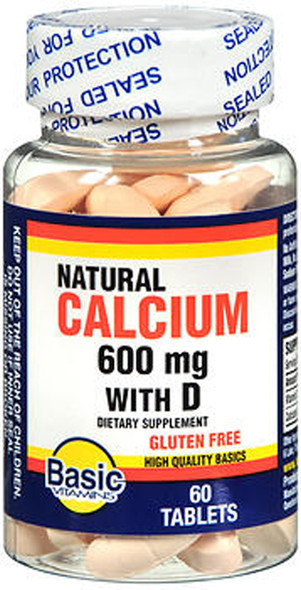 Basic Vitamins Natural Calcium 600 mg with D - 60 Tablets
