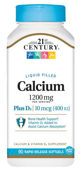 21st Century Calcium 600 + D Liquid Filled Softgels - 90 ct