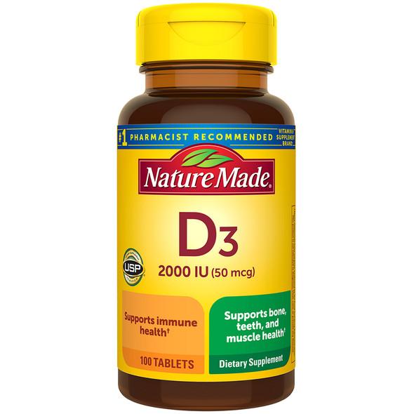 Nature Made Vitamin D3 2000 IU - 100 Tablets