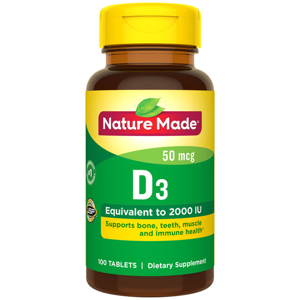 Nature Made Vitamin D3 2000 IU - 100 Tablets