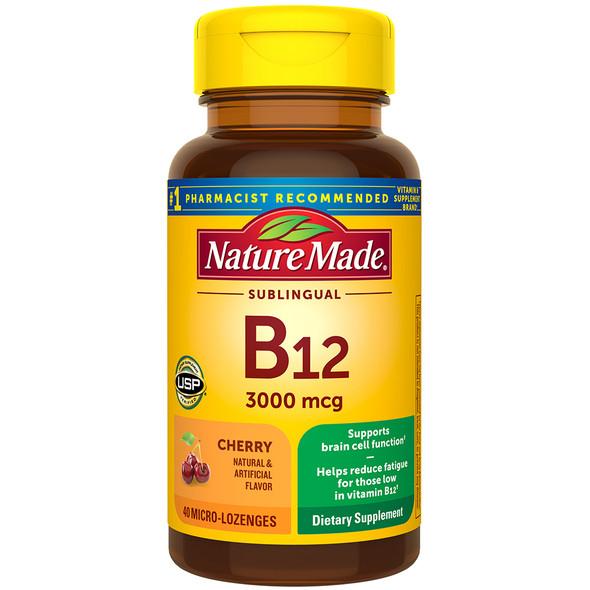 Nature Made B-12 3000 mcg Micro-Lozenges Cherry Flavor - 40 ct