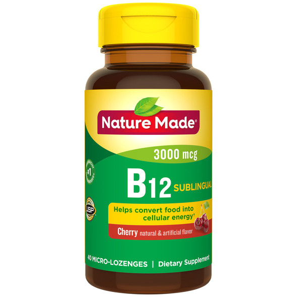Nature Made B-12 3000 mcg Micro-Lozenges Cherry Flavor - 40 ct