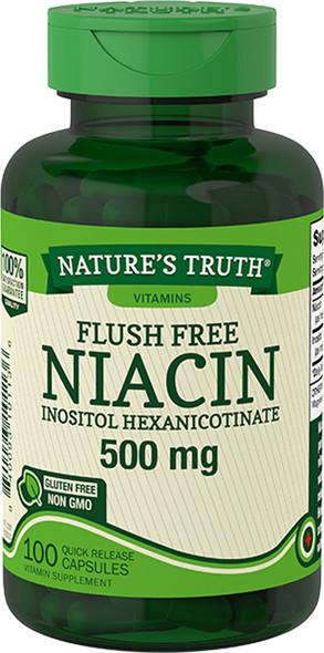 Nature's Truth Flush Free Niacin Inositol Hexanicotinate 500 mg Quick Release Capsules- 100 ct
