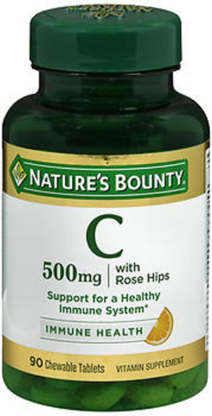 Nature's Bounty Vitamin C-500 mg with Rose Hips Chewable Natural Orange Flavor - 90 Tablets