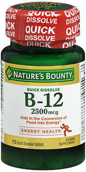 Nature's Bounty B-12 2500 mcg Supplement Quick Dissolve Natural Cherry Flavor - 75 Tablets