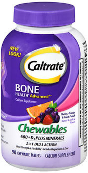 Caltrate 600+D3 Plus Minerals Chewable Tablets Cherry, Orange & Fruit Punch - 90 ct
