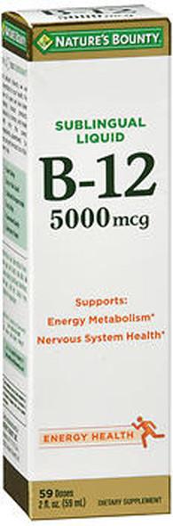 Nature's Bounty Sublingual B-12 5000 MCG Super Strength Natural Berry Flavor - 2 oz