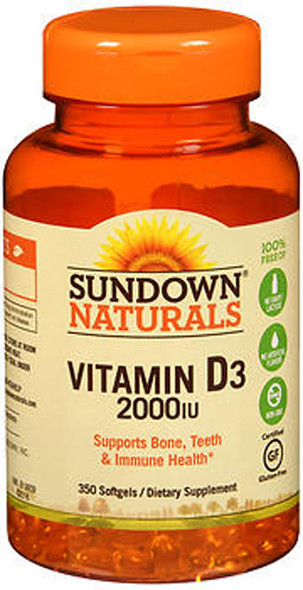 Sundown Naturals Vitamin D3 2000 IU Softgels - 350 ct