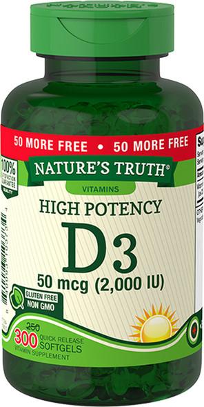Nature's Truth High Potency Vitamin D3 2000 IU Quick Release Softgels - 300 ct