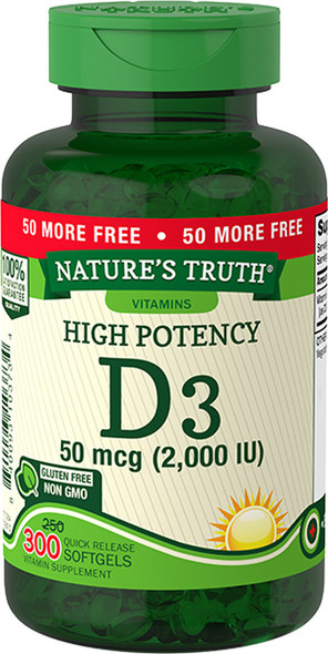 Nature's Truth High Potency Vitamin D3 2000 IU Quick Release Softgels - 300 ct