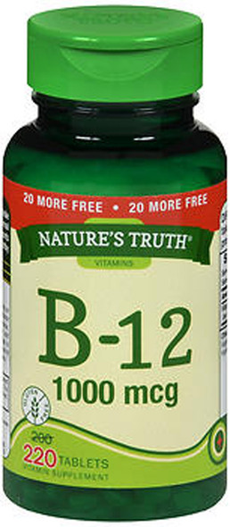 Nature's Truth B-12 1000 mcg Vitamin Supplement - 220 Tablets