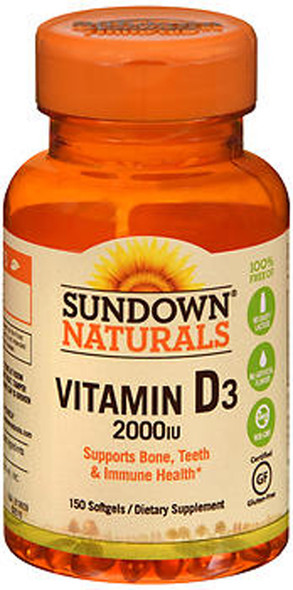 Sundown Naturals Super Potency D3 Vitamin D 2000 IU Softgels - 120 ct