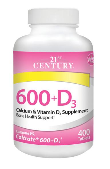 21st Century Calcium 600 +D3 - 400 Caplets