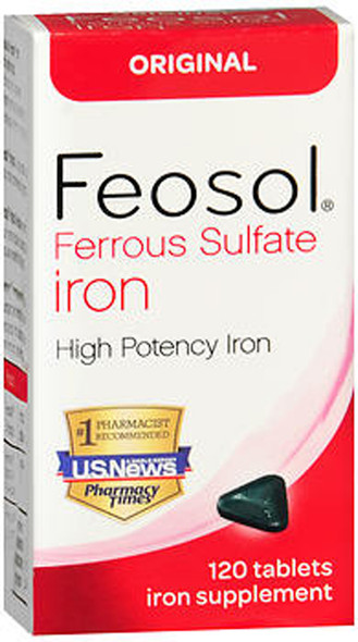 Feosol Ferrous Sulfate Iron Tablets Original - 120 Tablets