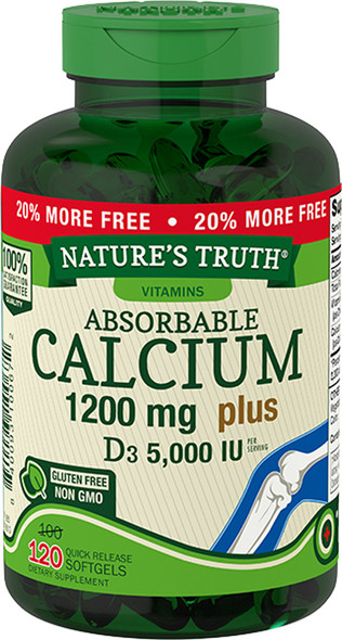 Nature's Truth Absorbable Calcium 1200 mg plus D3 5000 IU per Serving Quick Release Softgels  - 120 ct