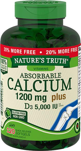 Nature's Truth Absorbable Calcium 1200 mg plus D3 5000 IU per Serving Quick Release Softgels  - 120 ct