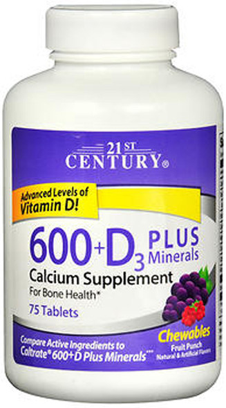 21st Century 600+D3 plus Minerals Calcium Chewables Fruit Punch - 75 ct
