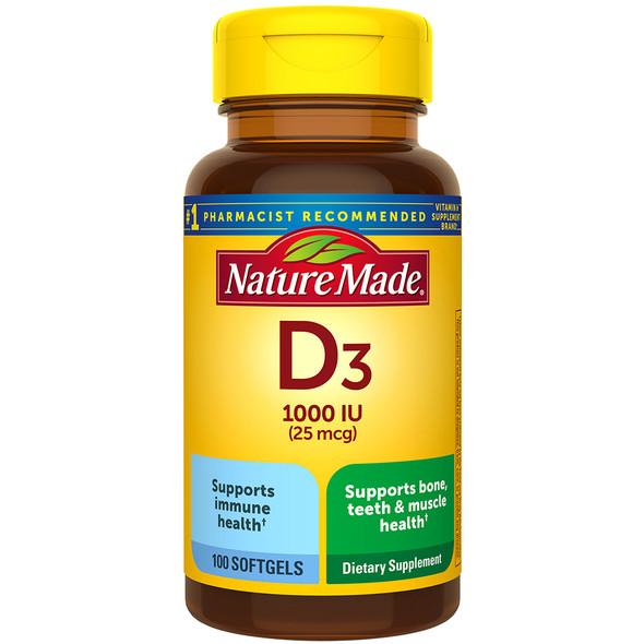 Nature Made D3 1000 IU - 100 Liquid Softgels